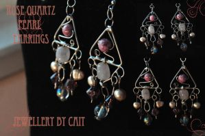 Rose Quartz Pearl Earrings by tanyquil