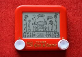 Taj Mahal Flowers Etch A Sketch by pikajane