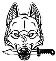 Wolf with knife by BullTerrierKa