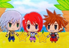 World of Kingdom Hearts: Sora, Kairi and Riku by dagga19