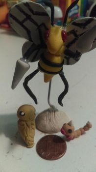 Weedle, Kakuna, Beedrill clay sculptures  by Animals4Eva
