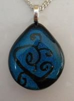 Teal Teardrop Swirls Pendant by HoneyCatJewelry