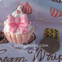 Pink Bow Cupcake Ring by CatNapCaps