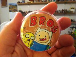 Adventure Time Bros Original Art Button by johnnyism