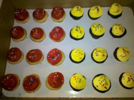 Cupcake Minis with Red and Yellow Frosting by missblissbakery
