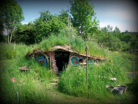 celtic roundhouse with grass roof by gangahimalaya