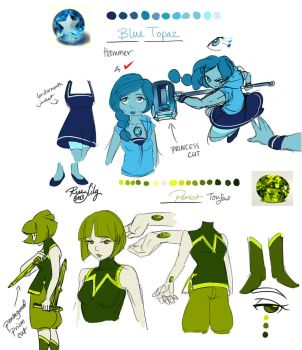 Steven Universe: OCs Blue Topaz and Peridot by Rice-Lily