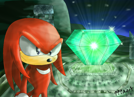 Knuckles and Master Emerald by 999agA