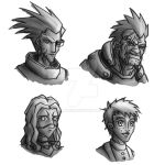 Mass Effect Portraits BW by dalubnie