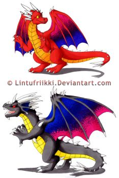 Red and Black dragons by Lintufriikki