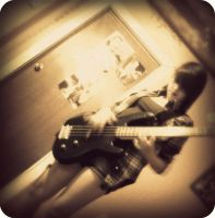Me playing bass I by TheRawrasaurusRex