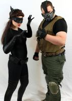 Catwoman and Bane by AngelValiant