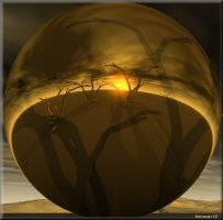 A Orb on a desert with trees watching and waiting by chrisntheboat