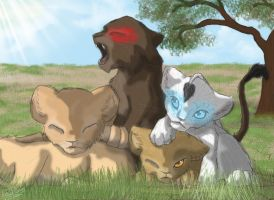 Pile of Lions by GKIDRULZ
