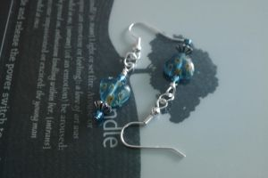 Blue Heart bead Earings by thepapercraftcouple