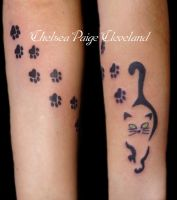 Cat and paw prints - Tattoo by Chelsea Cleveland by SmilinPirateTattoo