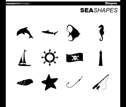 12 Sea Shapes for Photoshop by UnidentifyStudios