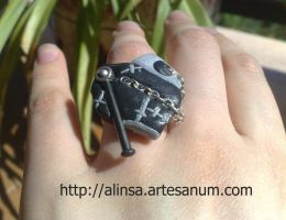 Steampunk heart ring by alinsa