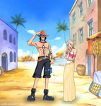 One Piece - Ace and OC Belle in Alabasta by Eralie