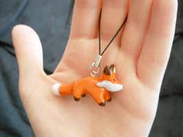 Polymer Clay Fox Charm by pinkreflection