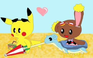 pikachu and buneary at beach by Catheliah