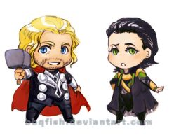 Chibi Thor and Loki by BBQfish