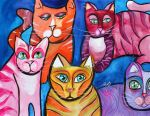 Colorful Cats 10 by jenthestrawberry