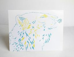 Geometric Polar Bear Blank Card by wflead