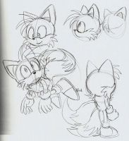 Miles Tails Prower sketches by ThePandamis