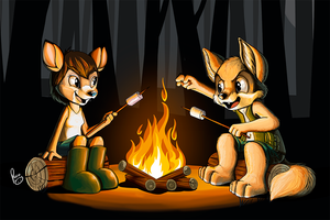 horror stories at the campfire by pandapaco