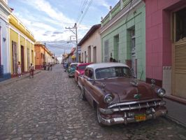 Old Chevy in Trinidad streets, Cuba by overmoder