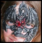 Silver and Black Dragon Mask by Namingway