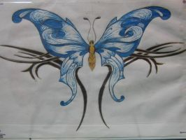 Blue Butterfly Tattoo by AngelTimi88