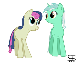 Lyra and Bon Bon by InflatedSnake
