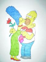 Homer and Marge by HeinousFlame