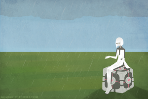 GLaDOS in the rain by McMugget