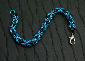 Black and Blue Byzantine Chainmaille Bracelet by DarkRaven17