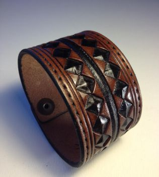 Double Black Diamond Leather Cuff by AFlem