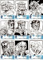Official DC 52 Sketchcards for Cryptozoic set 1 by ElfSong-Mat