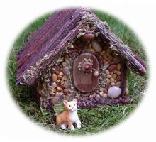 Acorn Fairy House with Fairy Cat by srkatz1959