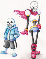 Sans and Papyrus Watercolour by Shirokaze2012