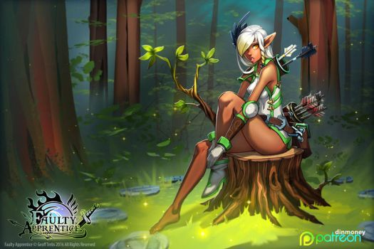 FA: Archery Instructor in forest by dinmoney