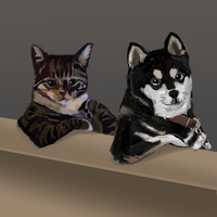Cat and Dog by Lancer-Manatee