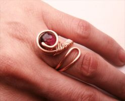 Wire Wrapped Adjustable Ring Copper and Quartzite by bleek70