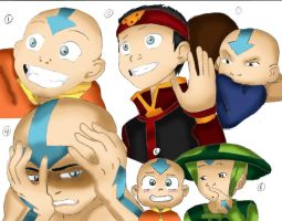 many faces of Aang colored by Fallonkyra