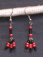 Black and Red Tridrop Earrings by LadyTal
