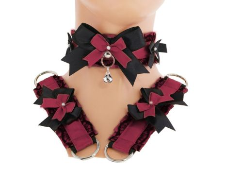 Kitten play collar and cuffs burgundy black, by Eusebie