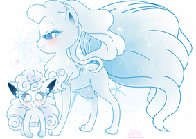 .:Alolan Ninetails and Vulpix:. by PinkPrincessBlossom