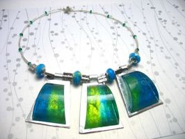 Turquoise cube necklace by TopazTurtle