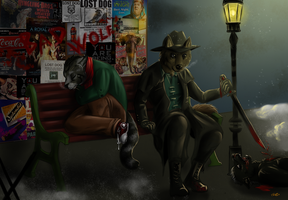 Commission - Two strange brothers and the night by FuriarossaAndMimma
